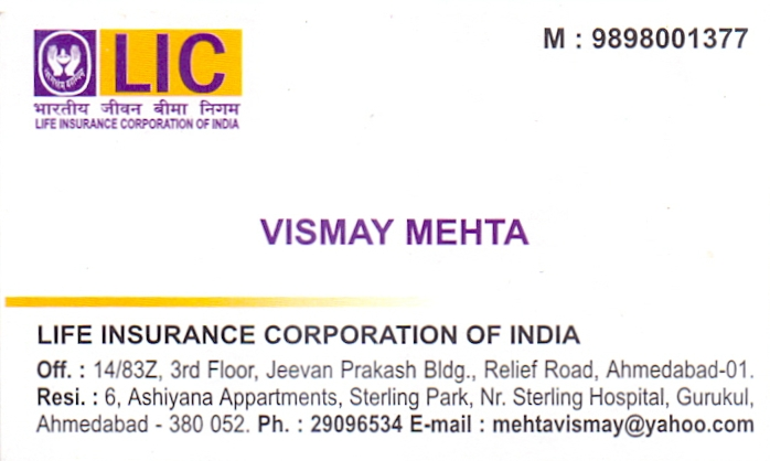 Visiting cards vismay mehta lic colourmoves